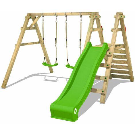WICKEY Portique balançoire Aire de jeux Sky Slider Prime avec toboggan vert pomme