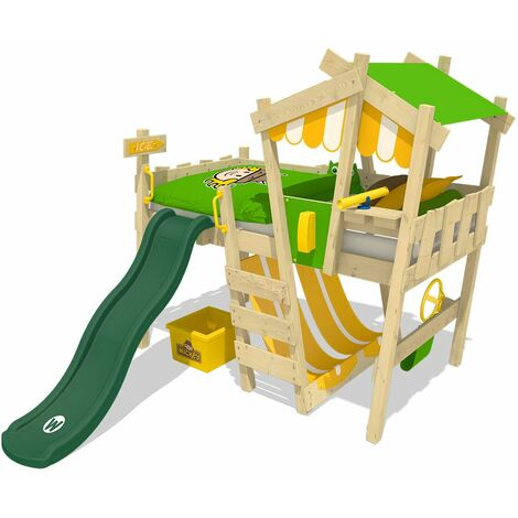 WICKEY SUPERSALE Kid´s bed, loft bed Crazy Hutty with green slide single bed 90 x 200 cm, children´s bed