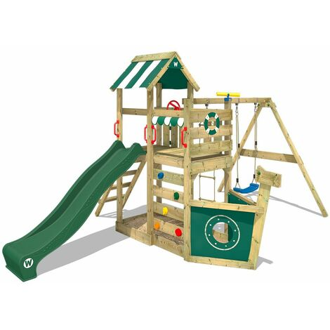 WICKEY SUPERSALE Wooden climbing frame SeaFlyer with swing set and green slide, Playhouse on stilts for kids with sandpit, climbing ladder & play-accessories