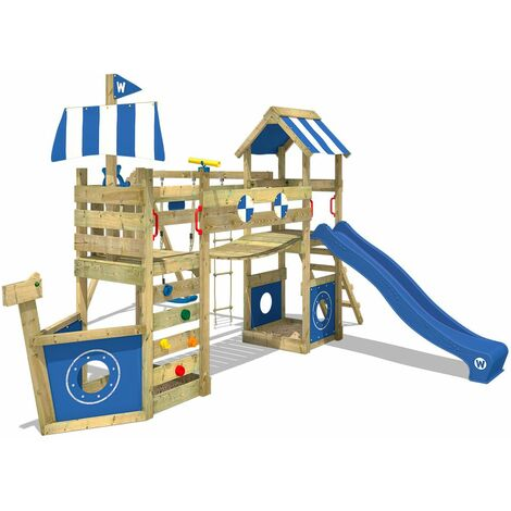WICKEY SUPERSALE Wooden climbing frame StormFlyer with swing set and blue slide, Playhouse on stilts for kids with sandpit, climbing ladder & play-accessories