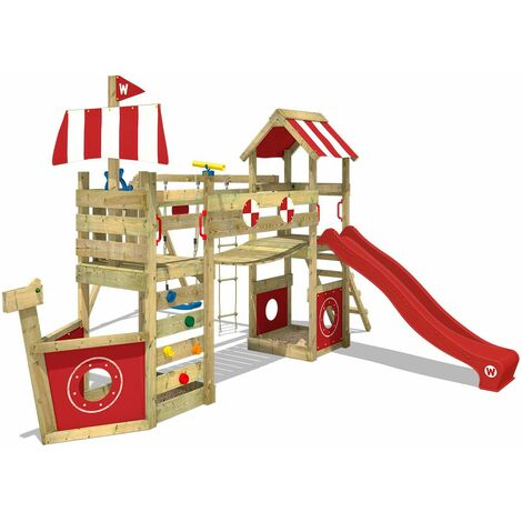 WICKEY SUPERSALE Wooden climbing frame StormFlyer with swing set and red slide, Playhouse on stilts for kids with sandpit, climbing ladder & play-accessories