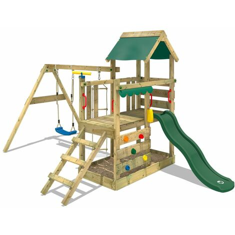 WICKEY SUPERSALE Wooden climbing frame TurboFlyer with swing set and green slide, Garden playhouse with sandpit, climbing ladder & play-accessories