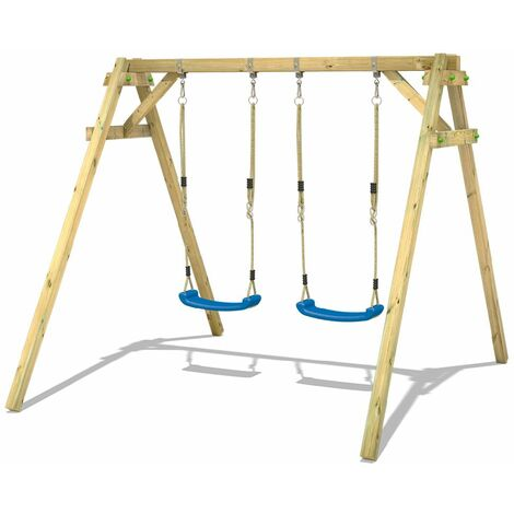 WICKEY SUPERSALE Wooden swing set Smart Move with Climbing extension Children's swing