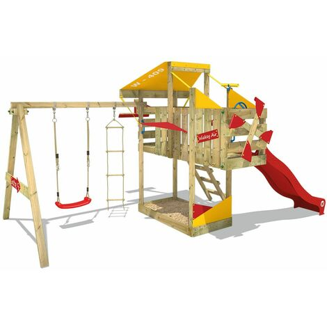 WICKEY Wooden climbing frame AirFlyer with swing set and red slide, Playhouse on stilts for kids with sandpit, climbing ladder & play-accessories