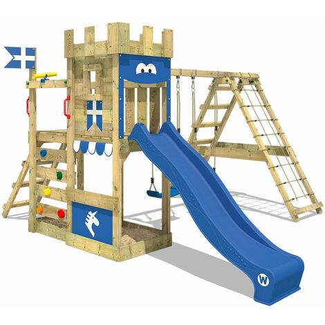 WICKEY Wooden climbing frame DragonFlyer with swing set and blue slide, Knight\'s playcastle with sandpit, climbing ladder & play-accessories