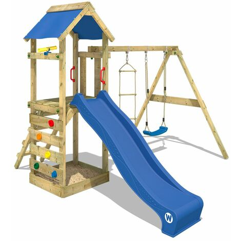 WICKEY Wooden climbing frame FreeFlyer with swing set and blue slide, Garden playhouse with sandpit, climbing ladder & play-accessories