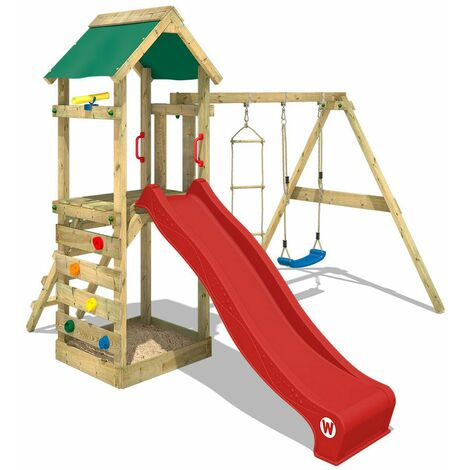 WICKEY Wooden climbing frame FreeFlyer with swing set and red slide, Garden playhouse with sandpit, climbing ladder & play-accessories