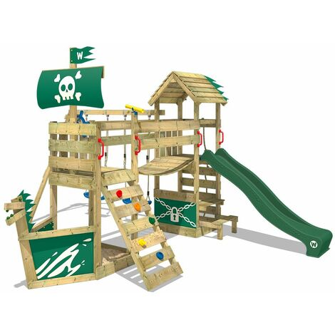 WICKEY Wooden climbing frame GhostFlyer with swing set and green slide, Playhouse on stilts for kids with sandpit, climbing ladder & play-accessories
