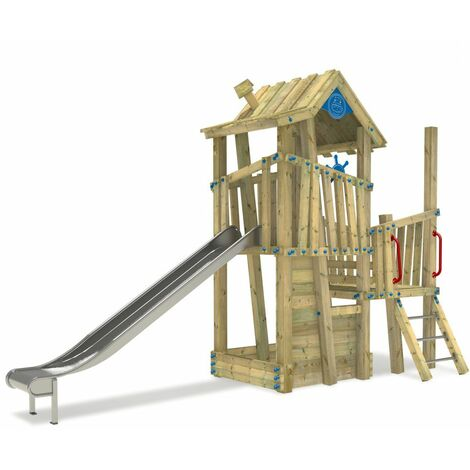 WICKEY Wooden climbing frame GIANT Castle with sandpit and slide – DIN EN1176 – Commercial playhouse for kids