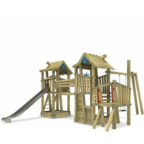 WICKEY Wooden climbing frame GIANT Fortress G-Force with swing set, sandpit and slide – DIN EN1176 – Commercial playhouse for kids