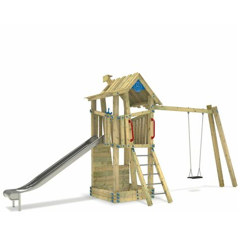 WICKEY Wooden climbing frame GIANT Treehouse G-Force with swing set, sandpit and slide – DIN EN1176 – Commercial playhouse for kids