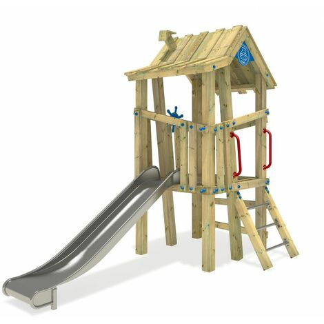 WICKEY Wooden climbing frame GIANT Villa with slide – DIN EN1176 – Commercial playhouse for kids
