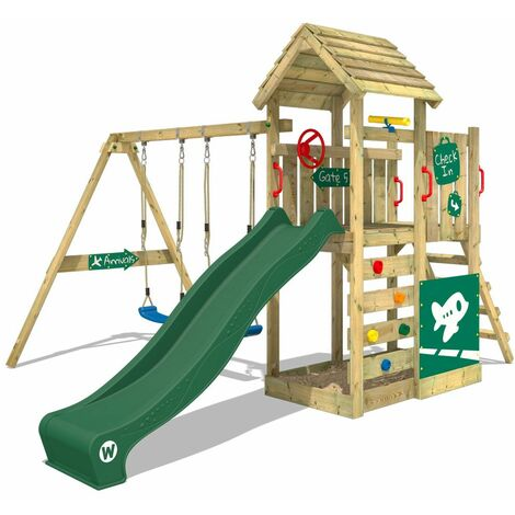 WICKEY Wooden climbing frame MultiFlyer Deluxe with swing set and green slide, Garden playhouse with sandpit, climbing ladder & play-accessories