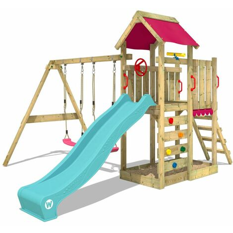 WICKEY Wooden climbing frame MultiFlyer with swing set and turquoise slide, Garden playhouse with sandpit, climbing ladder & play-accessories