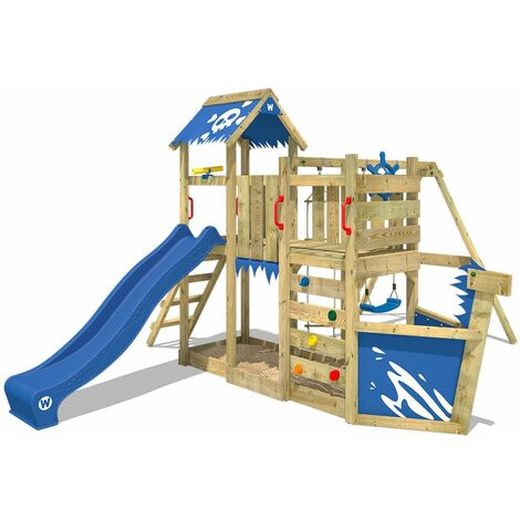 WICKEY Wooden climbing frame OceanFlyer with swing set and blue slide, Playhouse on stilts for kids with sandpit, climbing ladder & play-accessories