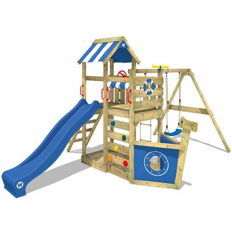 """main image of """"WICKEY Wooden climbing frame SeaFlyer with swing set and blue slide, Playhouse on stilts for kids with sandpit, climbing ladder & play-accessories"""""""