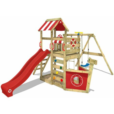 WICKEY Wooden climbing frame SeaFlyer with swing set and red slide, Playhouse on stilts for kids with sandpit, climbing ladder & play-accessories
