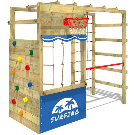 WICKEY Wooden climbing frame Smart Action Garden playhouse with climbing wall & play-accessories
