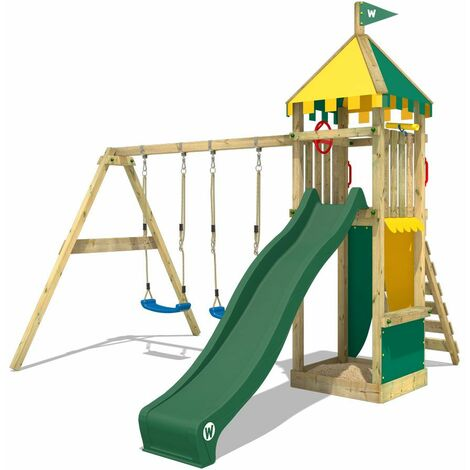 WICKEY Wooden climbing frame Smart Brave with swing set and green slide, Garden playhouse with sandpit, climbing ladder & play-accessories