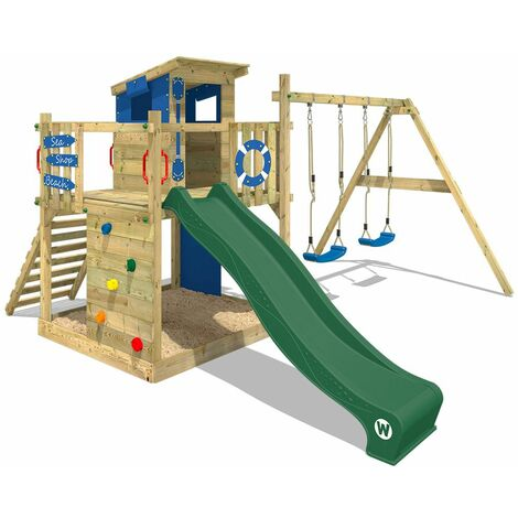WICKEY Wooden climbing frame Smart Camp with swing set and green slide, Playhouse on stilts for kids with sandpit, climbing ladder & play-accessories