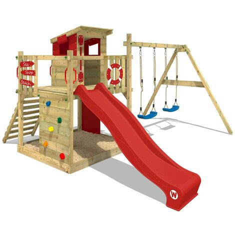 WICKEY Wooden climbing frame Smart Camp with swing set and red slide, Playhouse on stilts for kids with sandpit, climbing ladder & play-accessories