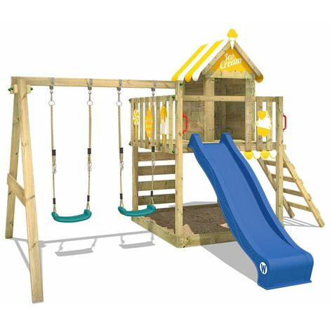 WICKEY Wooden climbing frame Smart Candy with swing set and blue slide, Playhouse on stilts for kids with sandpit, climbing ladder & play-accessories
