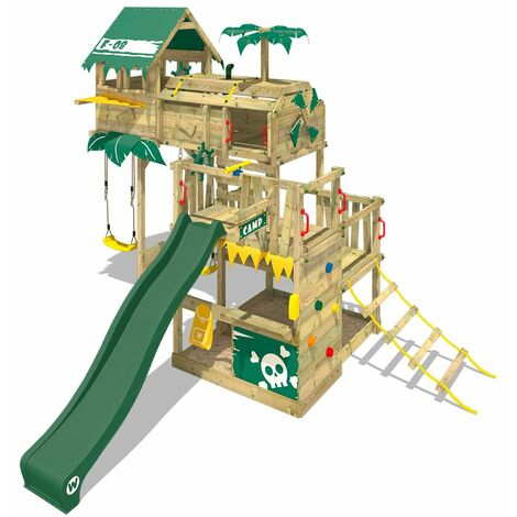 WICKEY Wooden climbing frame Smart Castaway with swing set and green slide, Playhouse on stilts for kids with sandpit, climbing ladder & play-accessories