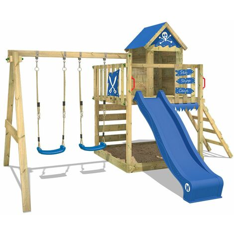 """main image of """"WICKEY Wooden climbing frame Smart Cave with swing set and blue slide, Playhouse on stilts for kids with sandpit, climbing ladder & play-accessories"""""""