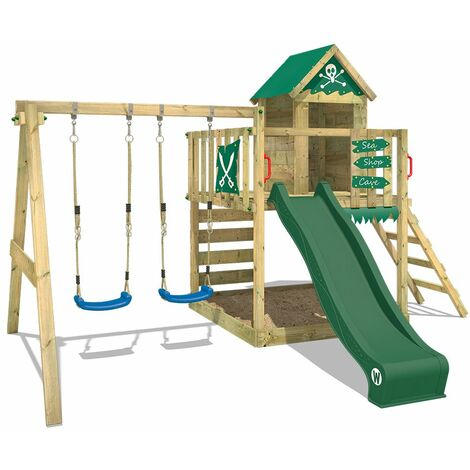 WICKEY Wooden climbing frame Smart Cave with swing set and green slide, Playhouse on stilts for kids with sandpit, climbing ladder & play-accessories