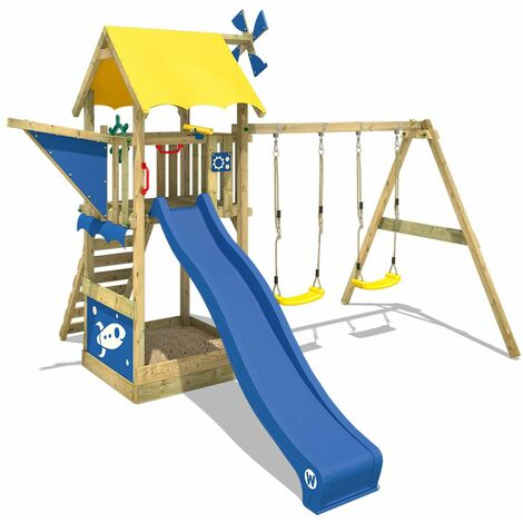WICKEY Wooden climbing frame Smart Chase with swing set and blue slide, Playhouse on stilts for kids with sandpit, climbing ladder & play-accessories