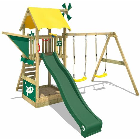 WICKEY Wooden climbing frame Smart Chase with swing set and green slide, Playhouse on stilts for kids with sandpit, climbing ladder & play-accessories