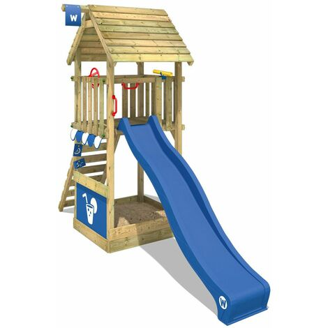 WICKEY Wooden climbing frame Smart Club wooden roof with blue slide, Garden playhouse with sandpit, climbing ladder & play-accessories