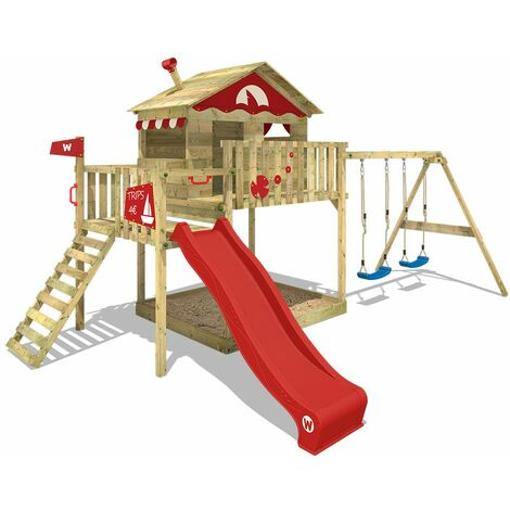 WICKEY Wooden climbing frame Smart Coast with swing set and red slide, Playhouse on stilts for kids with sandpit, climbing ladder & play-accessories