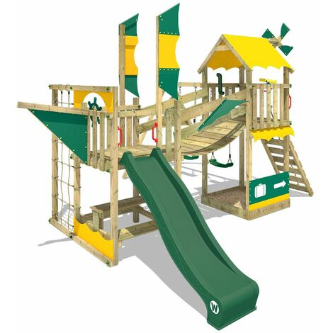 """main image of """"WICKEY Wooden climbing frame Smart Cruiser with swing set and green slide, Playhouse on stilts for kids with sandpit, climbing ladder & play-accessories"""""""