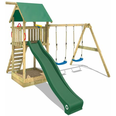 WICKEY Wooden climbing frame Smart Empire with swing set and green slide, Garden playhouse with sandpit, climbing ladder & play-accessories