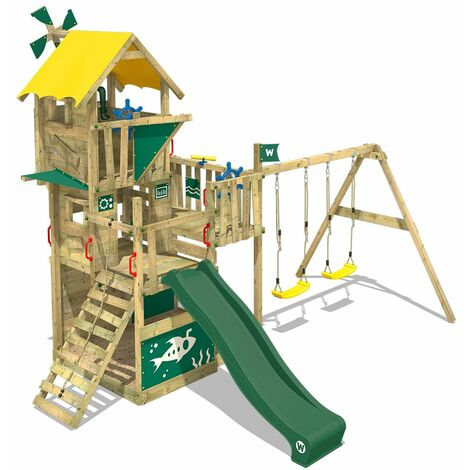 WICKEY Wooden climbing frame Smart Engine with swing set and green slide, Playhouse on stilts for kids with sandpit, climbing ladder & play-accessories