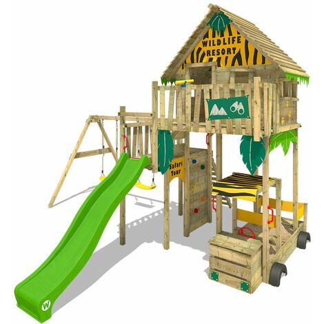 WICKEY Wooden climbing frame Smart Explore with swing set and apple green slide, Playhouse on stilts for kids with sandpit, climbing ladder & play-accessories