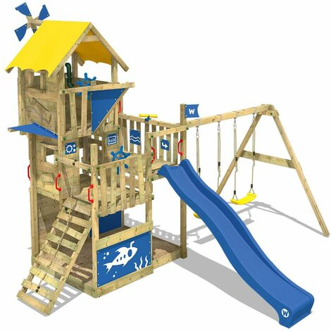 WICKEY Wooden climbing frame Smart Flight with swing set and blue slide, Playhouse on stilts for kids with sandpit, climbing ladder & play-accessories