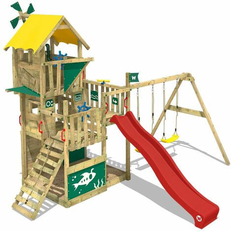 WICKEY Wooden climbing frame Smart Flight with swing set and red slide, Playhouse on stilts for kids with sandpit, climbing ladder & play-accessories