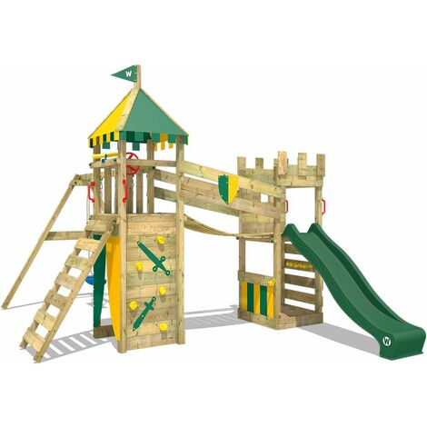 WICKEY Wooden climbing frame Smart Fort with swing set and green Knight's playcastle with sandpit, climbing ladder & play-accessories