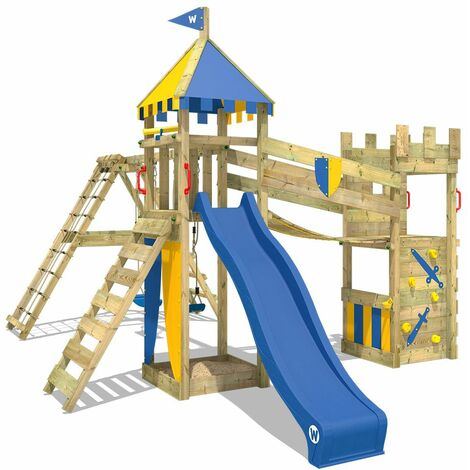 WICKEY Wooden climbing frame Smart Legend 150 with swing set and blue slide, Knight's playcastle with sandpit, climbing ladder & play-accessories