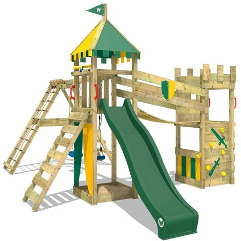WICKEY Wooden climbing frame Smart Legend 150 with swing set and green slide, Knight's playcastle with sandpit, climbing ladder & play-accessories