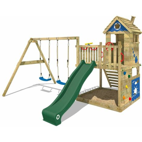 WICKEY Wooden climbing frame Smart Lodge 120 with swing set and green slide, Playhouse on stilts for kids with sandpit, climbing ladder & play-accessories