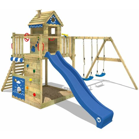 WICKEY Wooden climbing frame Smart Lodge 150 with swing set and blue slide, Playhouse on stilts for kids with sandpit, climbing ladder & play-accessories