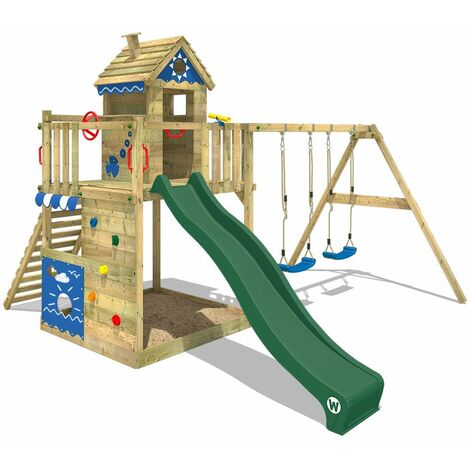 WICKEY Wooden climbing frame Smart Lodge 150 with swing set and green slide, Playhouse on stilts for kids with sandpit, climbing ladder & play-accessories