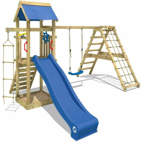 WICKEY Wooden climbing frame Smart Park with swing set and blue slide, Garden playhouse with sandpit, climbing ladder & play-accessories