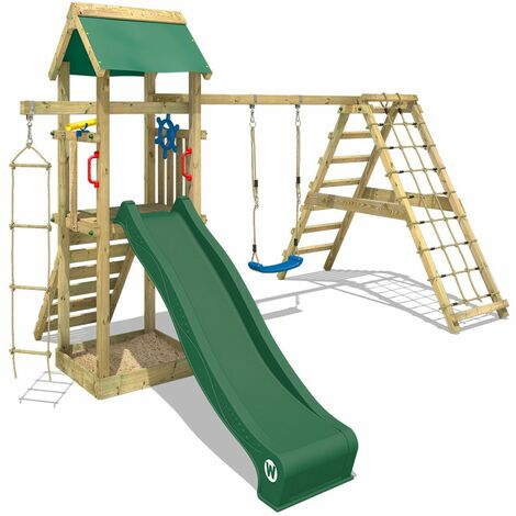 WICKEY Wooden climbing frame Smart Park with swing set and green slide, Garden playhouse with sandpit, climbing ladder & play-accessories
