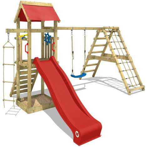 WICKEY Wooden climbing frame Smart Park with swing set and red slide, Garden playhouse with sandpit, climbing ladder & play-accessories