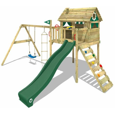 WICKEY Wooden climbing frame Smart Plaza with swing set and green slide, Playhouse on stilts for kids with climbing ladder & play-accessories