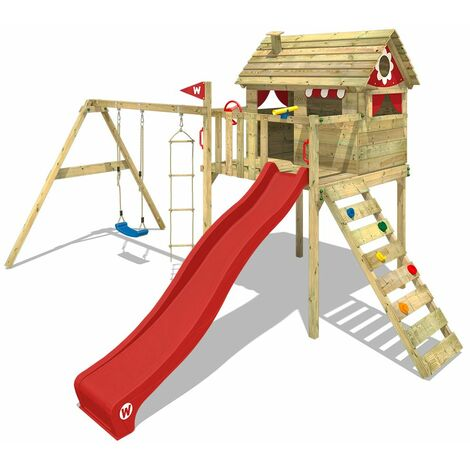 WICKEY Wooden climbing frame Smart Plaza with swing set and red slide, Playhouse on stilts for kids with climbing ladder & play-accessories